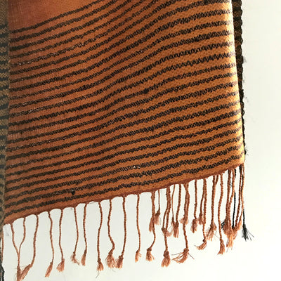 Avani Wild Silk Shawl in Rusty Orange