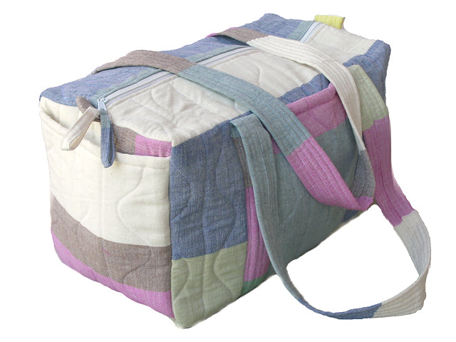 Tilonia Quilted Duffel Bag in Multi Color Striped Barefoot Handloom