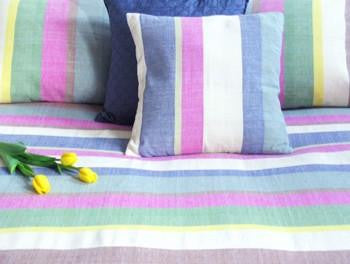 Tilonia® Queen Bedspread - Multicolored Stripe Barefoot Handloom