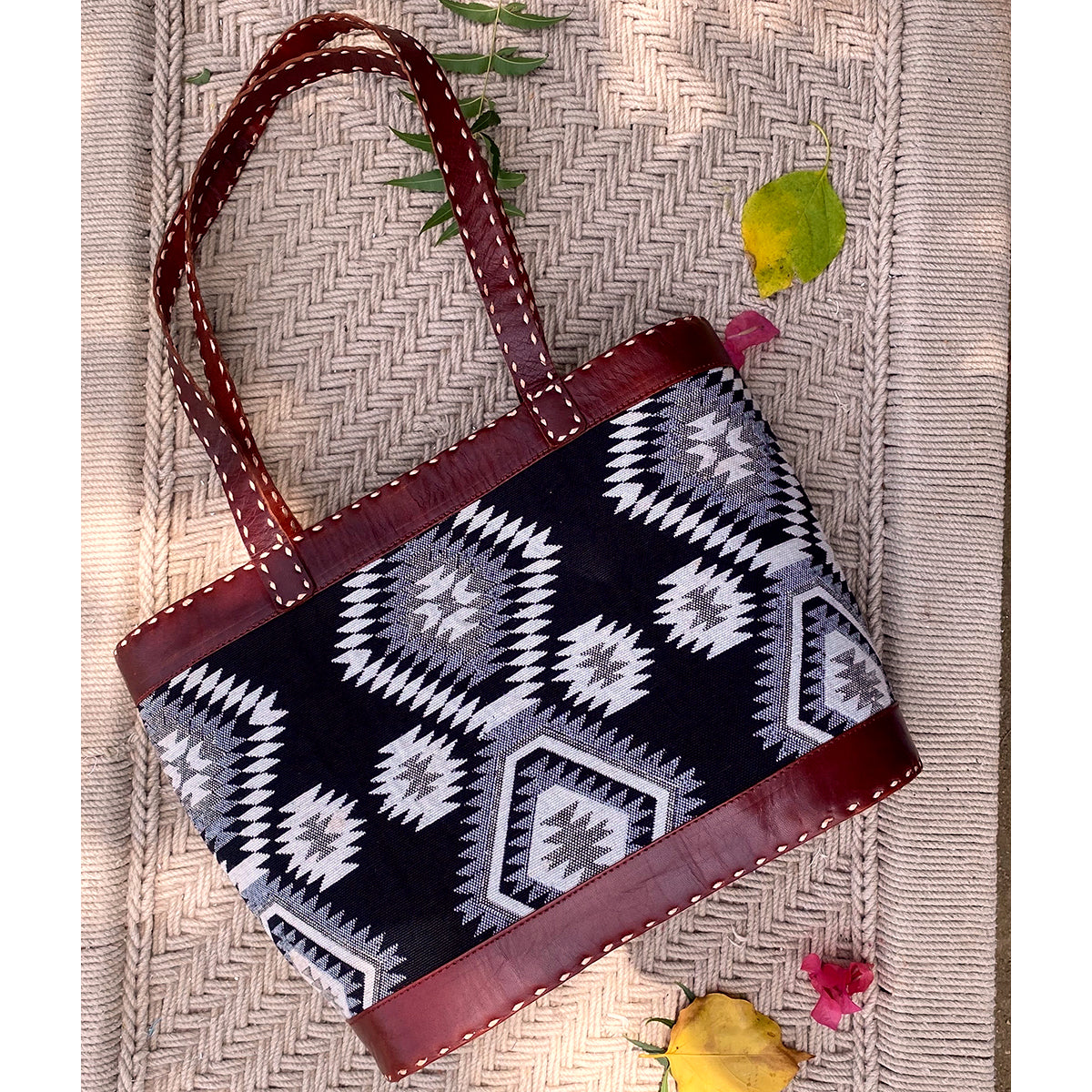 Tilonia@ Leather Tote Bag with Black & White Tribal Fabric