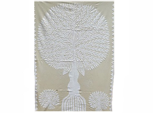 "Tilonia® Wall Hanging - Tree of Life Appliqué in White - 32"" x 52"""