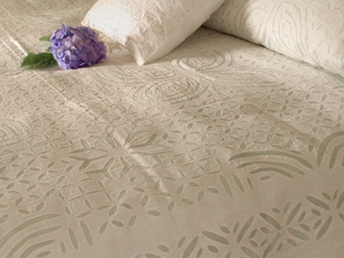 Barmer Appliqué Twin Bedspread - White on White