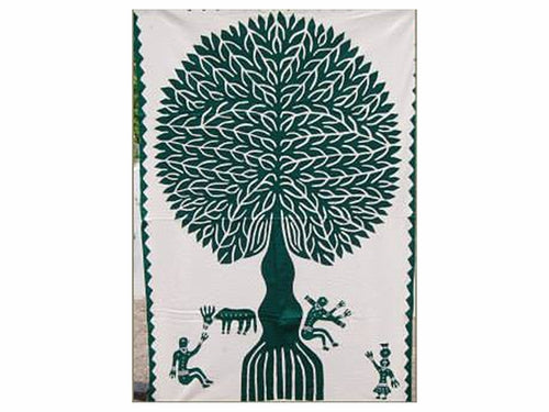 "Tilonia® Wall Hanging - Tree of Life Appliqué in Green - 32"" x 52"""