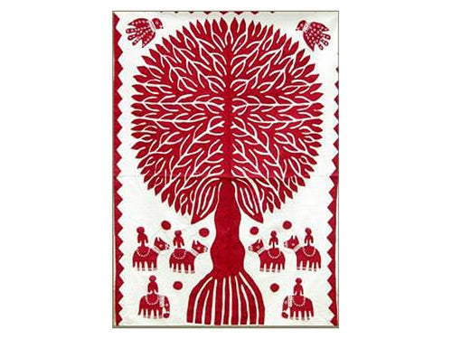 "Tilonia® Wall Hanging - Tree of Life Appliqué in Red - 32"" x 52"""