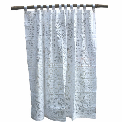 Barmer Appliqué Shower Curtain - White on White