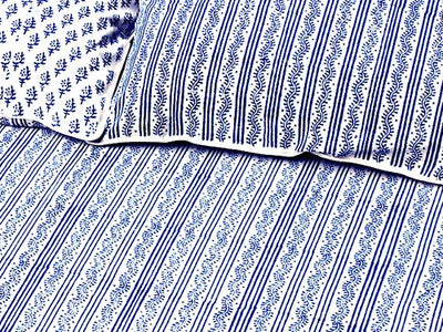 Tilonia® Queen Duvet Set - Centipede Stripe & Sprig in Blueberry