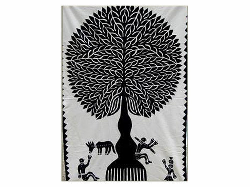 "Tilonia® Wall Hanging - Tree of Life Appliqué in Black - 32"" x 52"""