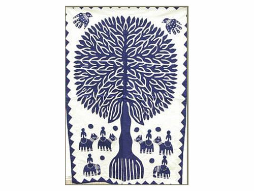 "Tilonia® Wall Hanging - Tree of Life Appliqué in Blue - 32"" x 52"""