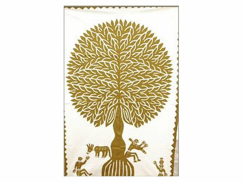 "Tilonia® Wall Hanging - Tree of Life Appliqué in Gold - 32"" x 52"""