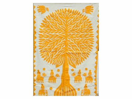 "Tilonia® Wall Hanging - Tree of Life Appliqué in Yellow - 32"" x 52"""