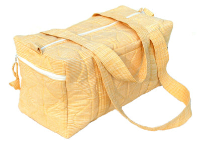 Tilonia® Quilted Duffel Bag in Yellow & White Barefoot Handloom