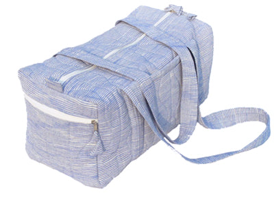 Tilonia® Quilted Duffel Bag in Blue & White Barefoot Handloom