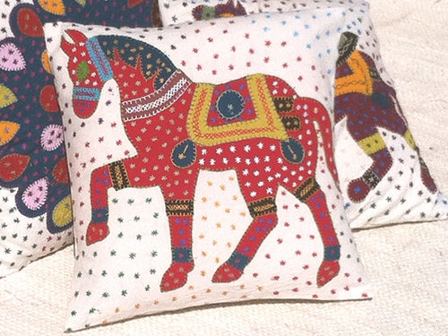 Barmer Appliqué Pillow Cover - Rajasthani Horse