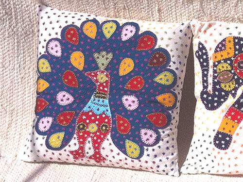 Barmer Appliqué Pillow Cover - Peacock