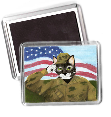 US Army Cat Art Magnet