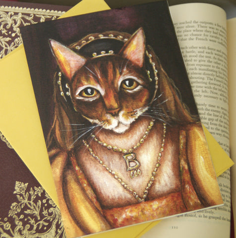 Anne Boleyn Cat Art Greeting Card