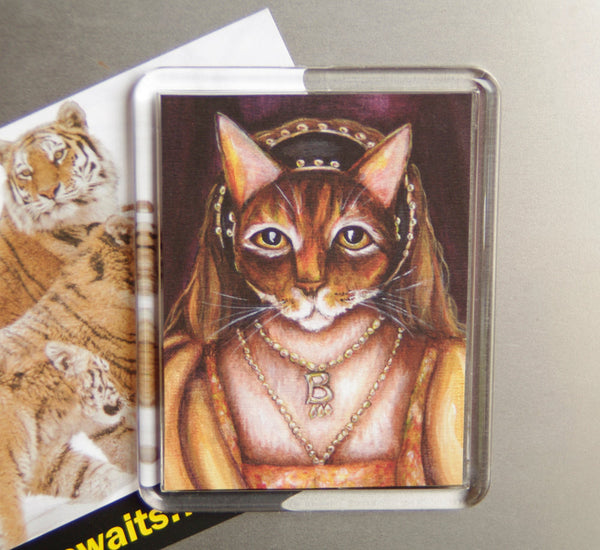 Anne Boleyn cat art magnet TaraFly