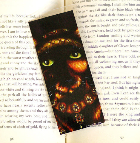 Anne Cleves tortoiseshell cat art bookmark