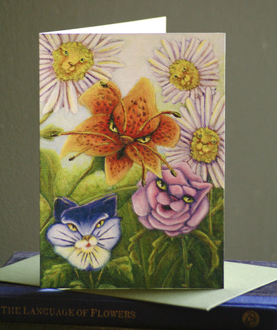 Catty Flowers Alice in Wonderland greeting card