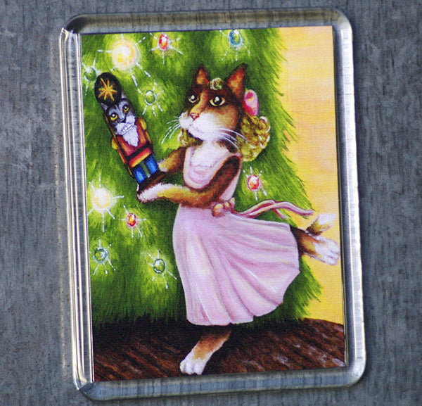 Clara Nutcracker Ballet cat art magnet