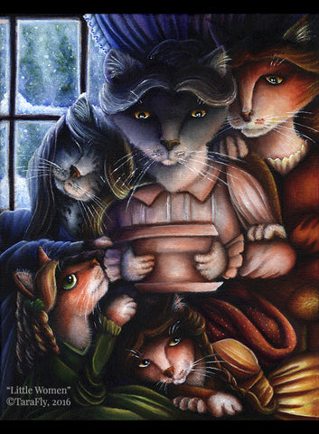 Little Women Cat Art Original Painting by Tara Fly