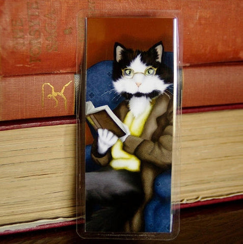 Pride and Prejudice Mr Bennet cat bookmark by Tara Fly