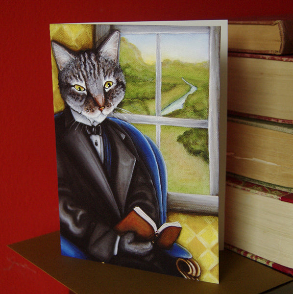 Grey Tabby Cat Reading Book Greeting Card
