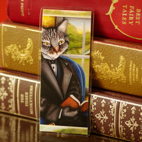 Grey Tabby Cat Reading Bookmark TaraFlyArt