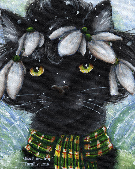 Snowdrop Flower Fairy Cat Fine Art Print