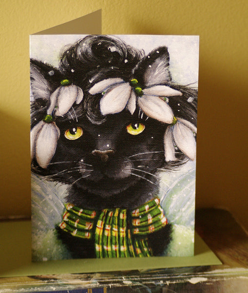 Snowdrop Flower Fairy Cat Greeting Card