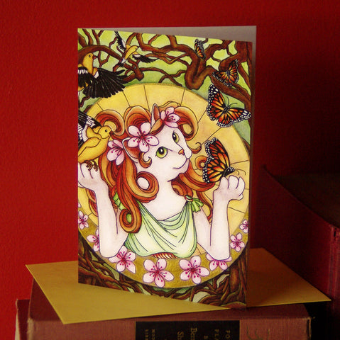 Spring Goddess Mother Nature Art Nouveau cat card