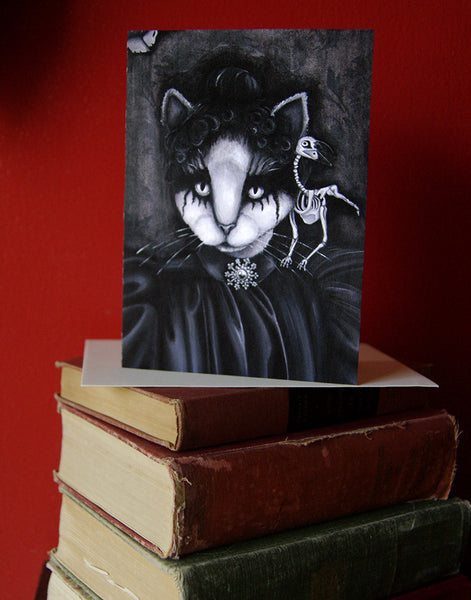 Victorian Goth Memento Mori Raven Cat Greeting Card