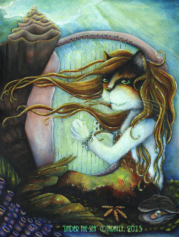 Calico Mermaid Cat Under the Sea fine art print