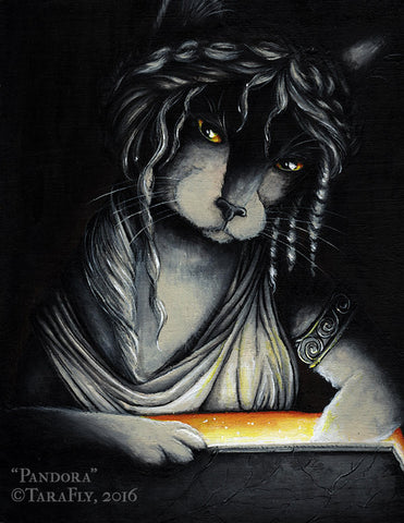 Greek myth Pandora Box Cat Art by cat artist TaraFly