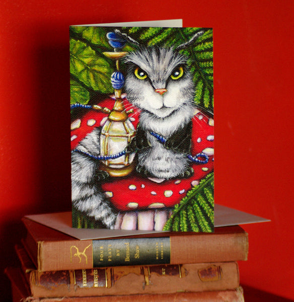 ON SALE Caterpillar Cat Card, Alice in Wonderland Mushroom Fantasy Cat Greeting Card