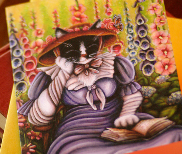 ON SALE Cottage Garden Cat Card, Fantasy Art 5x7 Blank Greeting Card