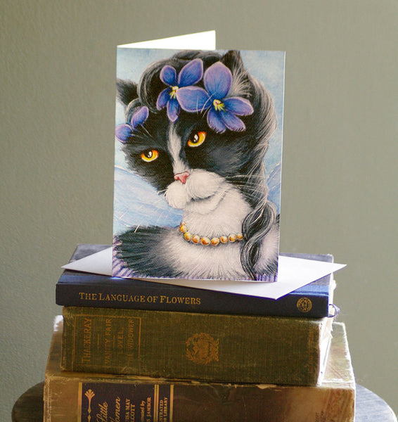 ON SALE Violet Fairy Cat Card, Fantasy Flower Cat Art, 5x7 Blank Greeting Card