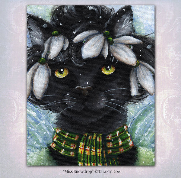 Black Cat Snowdrop Fairy Fine Art Print by Tara Fly
