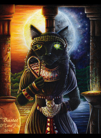 Bastet Bast Egyptian cat goddess art by Tara Fly.