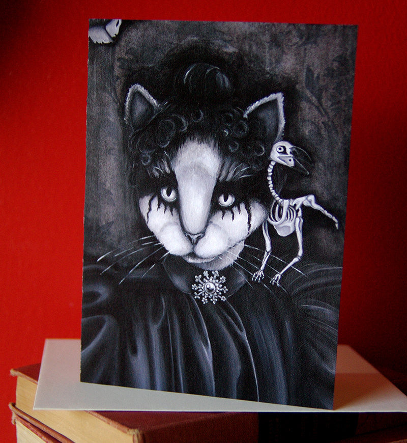 Victorian Goth Memento Mori Cat Greeting Card