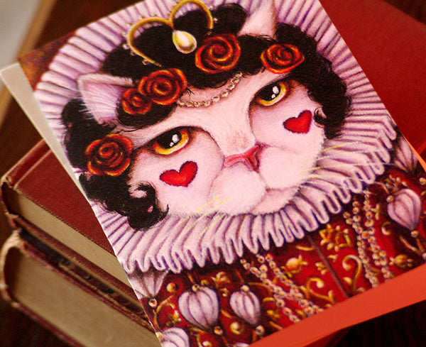 ON SALE Queen of Hearts Cat Card, Alice in Wonderland Fantasy Cat Greeting Card
