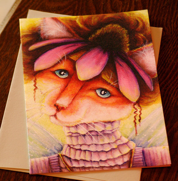 ON SALE Flower Cat Card, Coneflower Fairy Cat Fantasy Art, 5x7 Blank Greeting Card