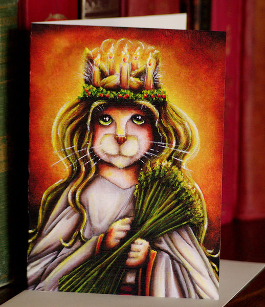 ON SALE Saint Lucy Cat Calico, Santa Lucia Fantasy Art 5x7 Blank Greeting Card