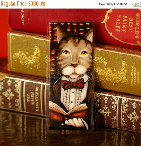 ON SALE Reading Cat Bookmark, Cat Wearing Clothes, Literary Cat, Gone With the Wind Paper Bookmark