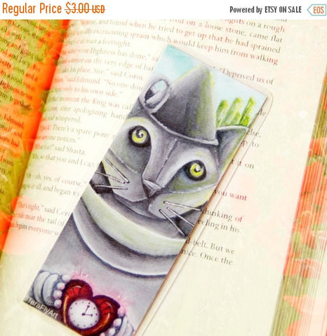 ON SALE Tin Man Cat Bookmark Metal Cat Wizard of Oz Inspired Cat Bookmark