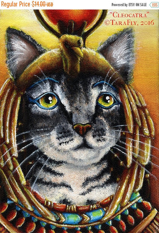 ON SALE Cleopatra Egyptian Mau Cat Pharoah Goddess Fine Art Print 5x7