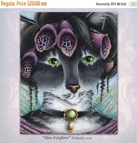 ON SALE Foxglove Fairy Cat Fantasy Art, 8x10 Fine Art Reproduction Print