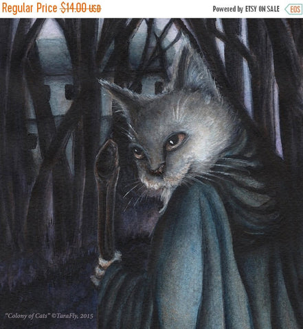 ON SALE Grey Cat Dressed in Traveling Robes Fairy Tale Illustration 5x7 Archival Print