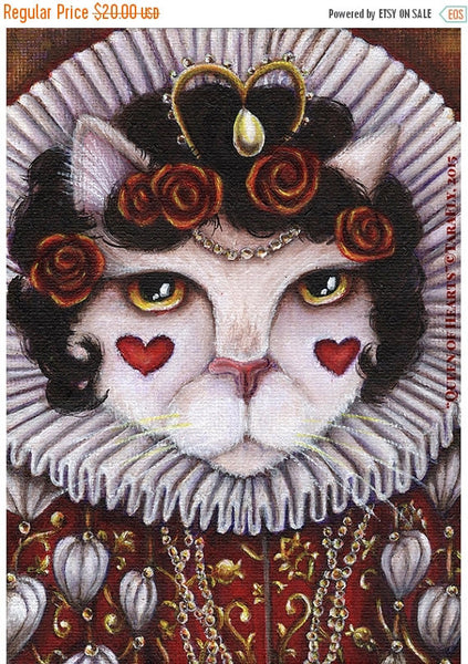 ON SALE Queen of Hearts, Fantasy Cat Art, Alice in Wonderland 8x10 Fine Art Print