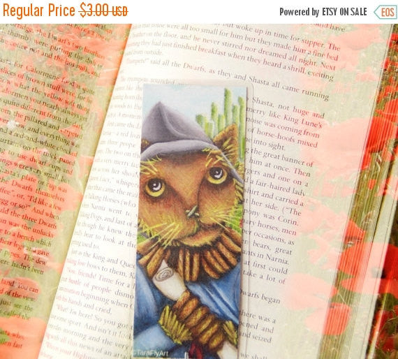 ON SALE Scarecrow Cat Bookmark Straw Cat Wizard of Oz Inspired Cat Bookmark